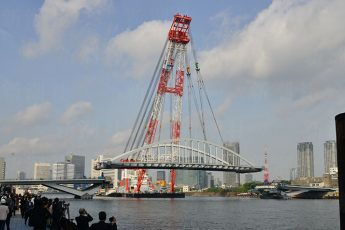 環状2号線の一部で隅田川の一番橋(勝鬨橋)(14年5月7日撮影)