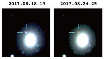 日本の重力波追跡観測チームによって撮影された重力波源が減光していく様子。ハワイのすばる望遠鏡、南アフリカのIRSF望遠鏡のデータを三色合成した画像。(提供・国立天文台/名古屋大学)