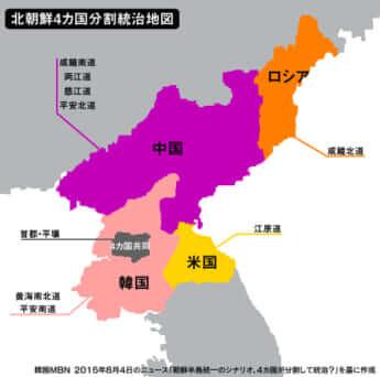 北朝鮮4カ国分割統治地図
