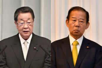 吉川貴盛・元農相と、二階俊博・自民党幹事長