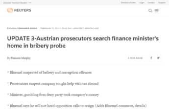 財務大臣の家宅捜索を報じるロイター通信の記事